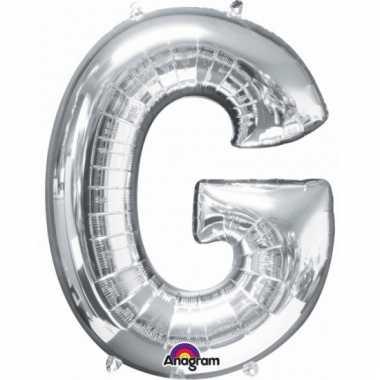 Mega grote zilveren ballon letter g