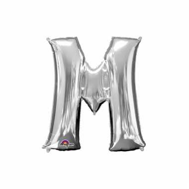 Mega grote zilveren ballon letter m