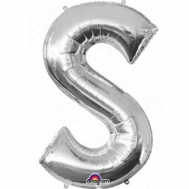 Mega grote zilveren ballon letter s