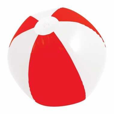Mega rood/witte strandbal 150 cm opblaasbaar