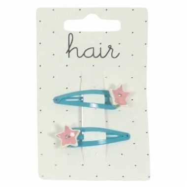 Meiden haarclips blauw met roze sterretjes