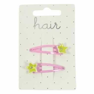 Meiden haarclips roze met gele sterretjes