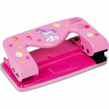 Meisjes perforator roze met eenhoorn print