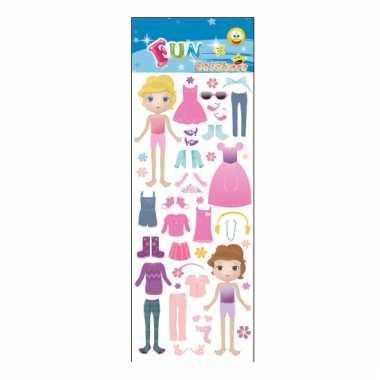 Meisjes stickervel dress up doll