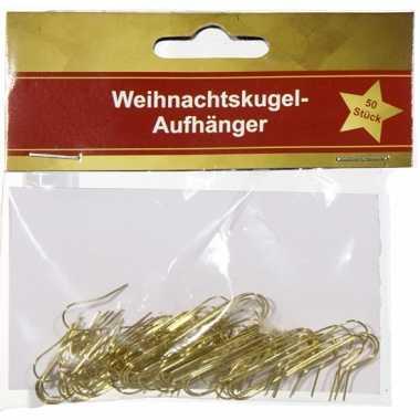 Metalen kerstbalhaakjes goud 50 stuks