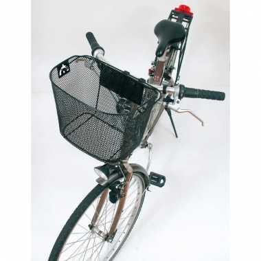 Metalen mand voor aan je fiets in het zwart