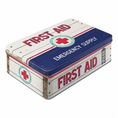 Metalen opbergblik first aid