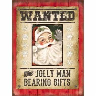 Metalen plaat wanted kerstman