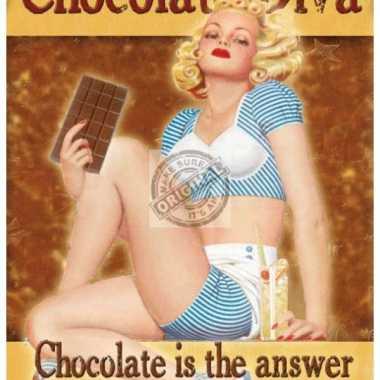 Metalen plaatje chocolade diva