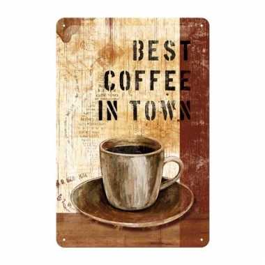 Metalen poster muurdecoratie koffie 20 x 30 cm