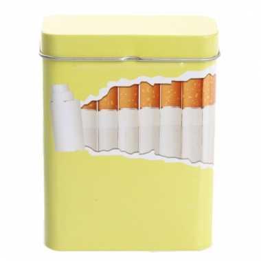 Metalen sigaretten blikje geel