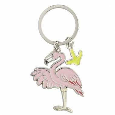 Metalen sleutelhanger flamingo 5 cm