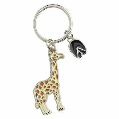 Metalen sleutelhanger giraffe 5 cm