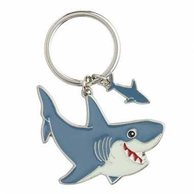 Metalen sleutelhanger haai 5 cm