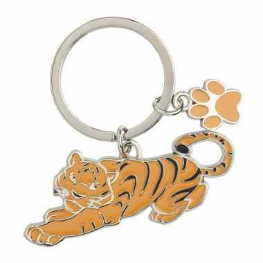 Metalen sleutelhanger tijger 5 cm
