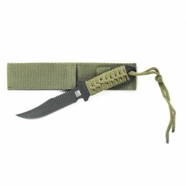Metalen survival combat mes groen 19.5 cm