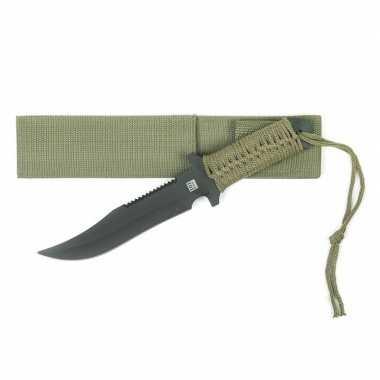 Metalen survival combat mes groen 27 cm