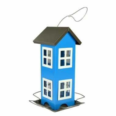 Metalen vogelvoerhuis blauw 26cm