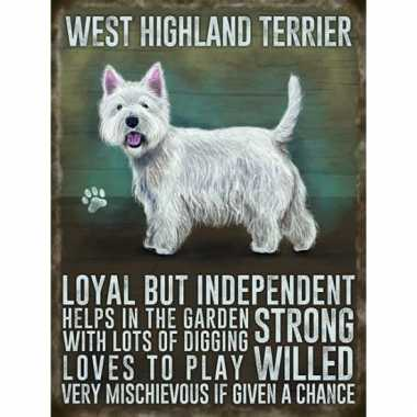 Metalen wand bord west higland terrier
