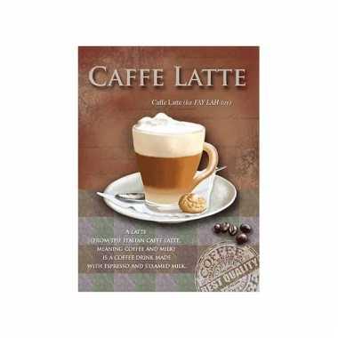 Metalen wand bordje caffe latte 15 x 20 cm