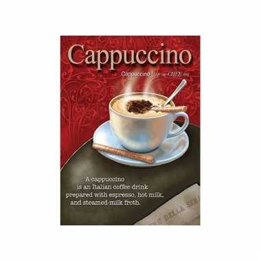 Metalen wand bordje cappuccino 15 x 20 cm