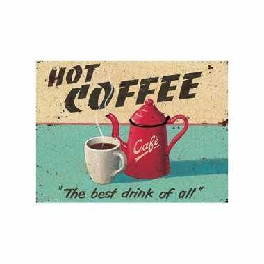 Metalen wand bordje hot coffee