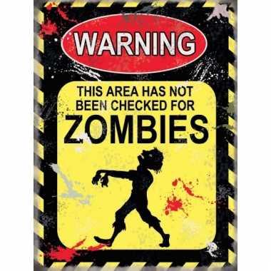 Metalen wand bordje zombies 15 x 20 cm