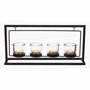 Metalen waxinelichthouder met 4 glazen