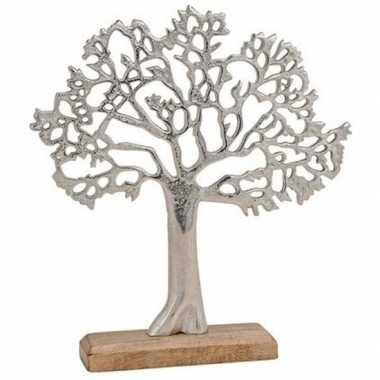 Metalen woon decoratie boom op houten standaard 33 cm