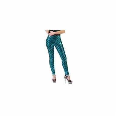 Metallic blauwe schubben legging