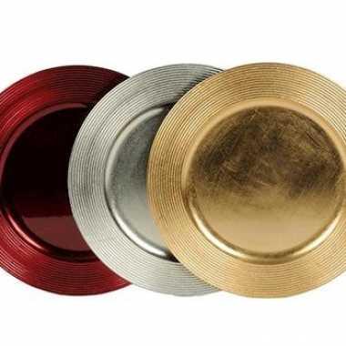 Metallic gekleurd kaarsen onderbord 33 cm