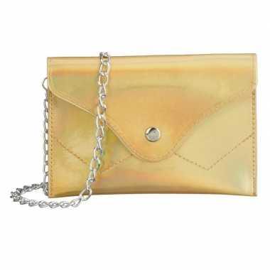 Metallic goud schoudertasje/handtasje 18 cm