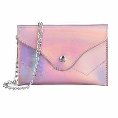 Metallic roze schoudertasje/handtasje 18 cm