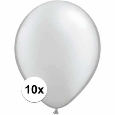 Metallic zilveren qualatex ballonnen 10 stuks