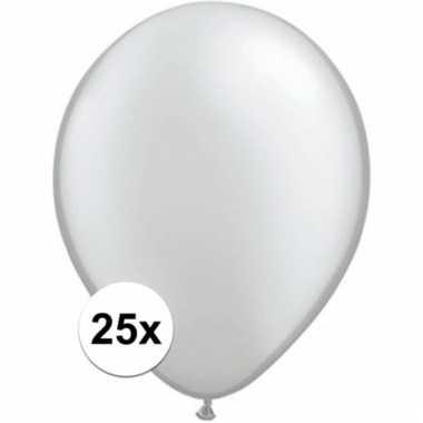 Metallic zilveren qualatex ballonnen 25 stuks