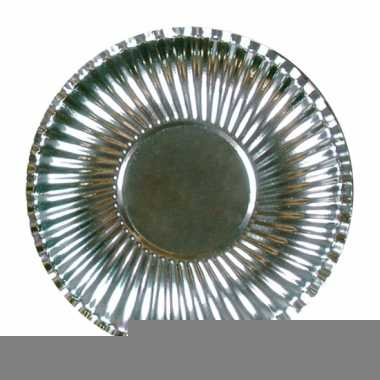 Metallic zilveren wegwerp bordjes 23 cm