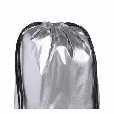 Metallic zilverkleurig gymtasje