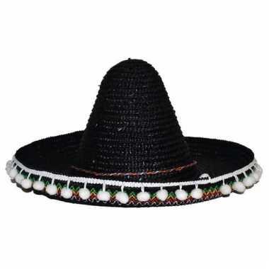 Mexicaanse sombrero zwart voor kinderen 25 cm