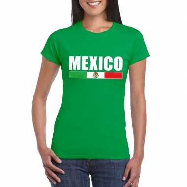 Mexicaanse supporter t-shirt groen voor dames