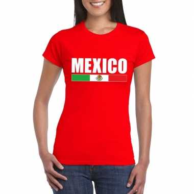 Mexicaanse supporter t-shirt rood voor dames