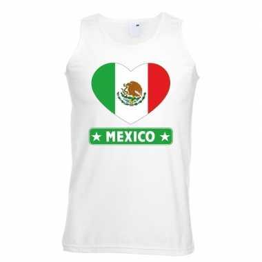 Mexico hart vlag mouwloos shirt wit heren