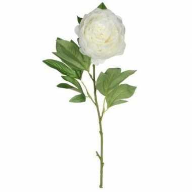 Mica creme kunst pioen roos kunstbloemen 76 cm decoratie