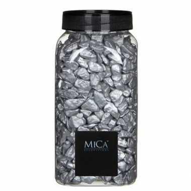 Mica decoratie stenen/kiezels zilver 1 kg/kilo
