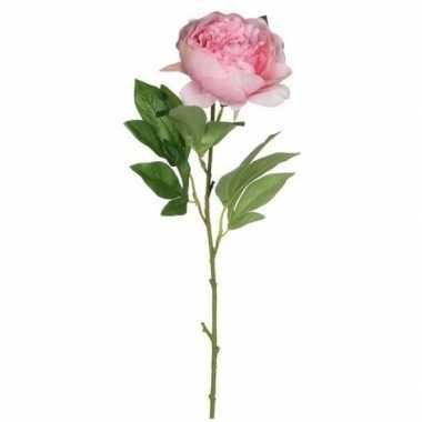 Mica roze kunst pioen roos kunstbloemen 76 cm decoratie