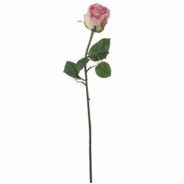 Mica roze kunstroos kunstbloemen 69 cm decoratie