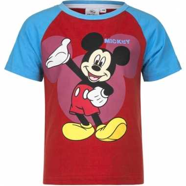 Mickey mouse shirt korte mouw rood/blauw voor jongens