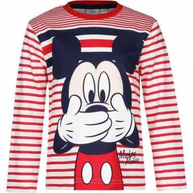 Mickey mouse shirt lange mouw rood/wit voor jongens