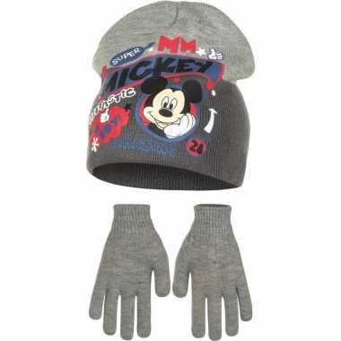 Mickey mouse winter muts en handschoenen voor jongens