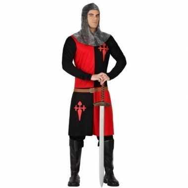 Middeleeuws ridder verkleed pak rood/zwart voor heren