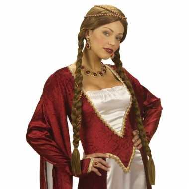 Middeleeuwse damespruik bruin